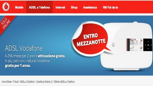 Vodafone mette in promozione solo per oggi ADSL e Telefono Senza Limiti e ADSL e Telefono