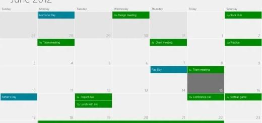 Calendar app Windows 8
