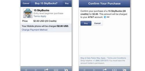 Facebook payment mobile