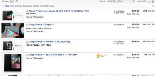Google Nexus 7 eBay