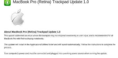 macbook pro retina display update trackpad