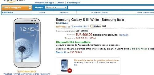 Samsung Galaxy S3 a 606,09 euro da Amazon Italia