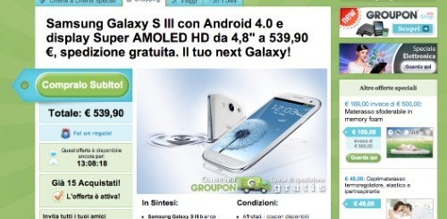 Samsung Galaxy S3 a 539,90 euro da Groupon