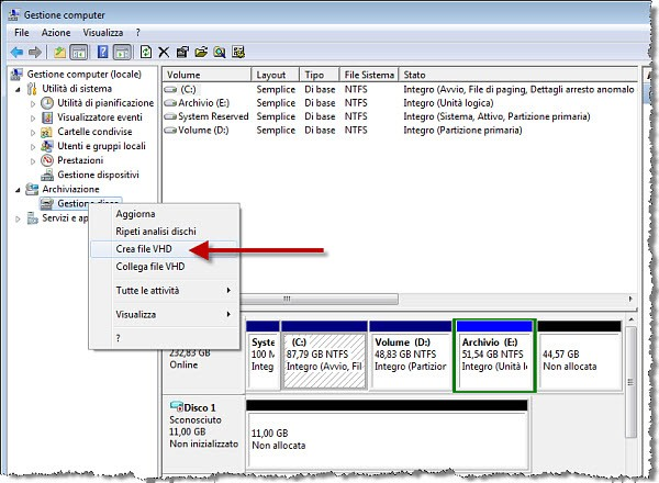 Creazione del file VHD