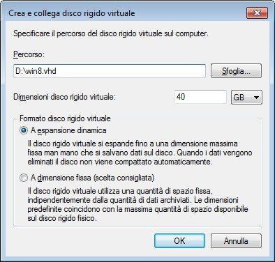 Impostazioni file VHD