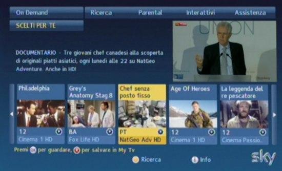 Interfaccia Sky On Demand, controllabile da telecomando