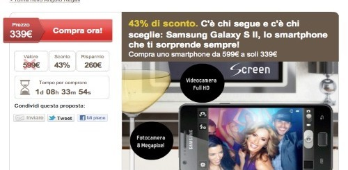 Samsung Galaxy S2 a 339 euro da LetsBonus
