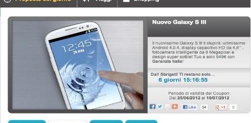 Groupalia: Samsung Galaxy S3 garanzia Italia a 549 euro