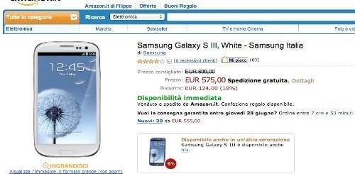 Samsung Galaxy S3 garanzia Italia a 575 euro su Amazon Italia