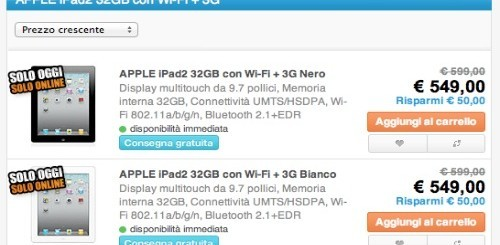 Saturn: Apple iPad 2 3G 32GB solo per oggi a 549 euro