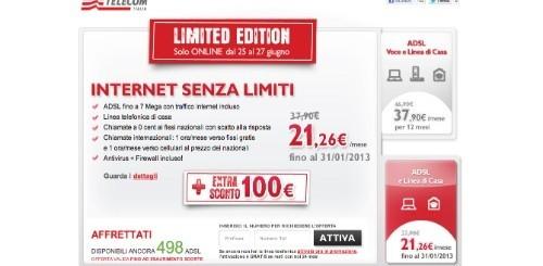 Telecom Italia: 100 euro di sconto per chi attiverà Internet Senza Limiti