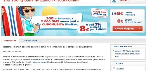 TIM Young Summer Edition: 2000 SMS e internet senza limiti a 11 euro