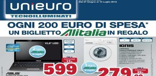 Unieuro lancia il nuovo volantino delle offerte e regala un volo con Alitalia