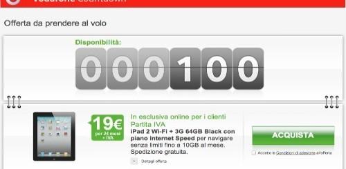 Vodafone Countdown: Apple iPad 2 3G 64 GB a 19 euro al mese per 24 mesi