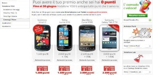 Vodafone You: Smartphone e Tablet Pc a partire da 0 punti