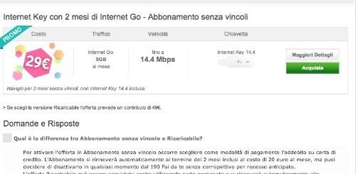 Vodafone: Internet Key e 2 mesi di Internet Go a 29 euro