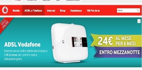 Vodafone: solo per oggi ADSL e Telefono Senza Limiti a 24 euro per 6 mesi