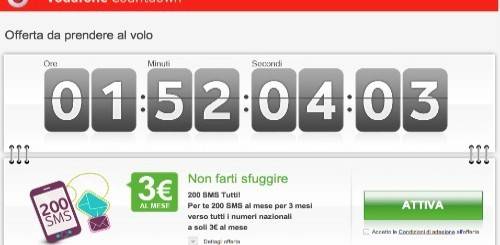 Vodafone Countdown: 200 SMS verso tutti a 3 euro al mese per 3 mesi