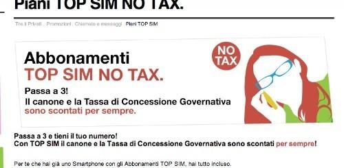 3 Italia: tassa di concessione governativa scontata per sempre sugli abbonamenti TOP SIM