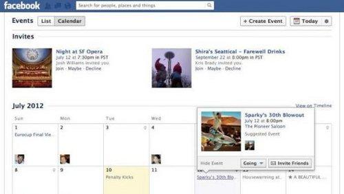 Funzione calendari su Facebook
