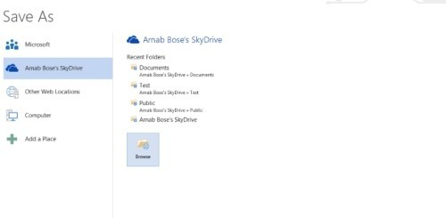 SkyDrive in Office 2013
