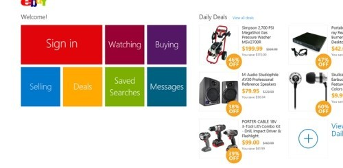 eBay app per Windows 8