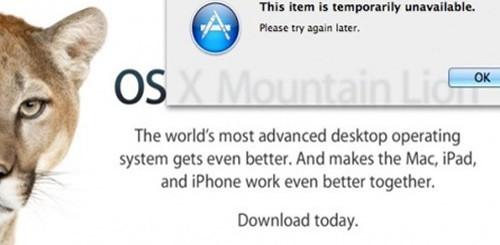 OS X Mountain Lion, errore