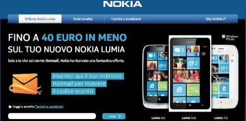 Nokia: sino a 40 euro di sconto per gli utenti Hotmail che compreranno un terminale Lumia