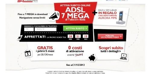 Telecom Italia ADSL 7 MEGA: 5 mesi gratis e un cordless in regalo