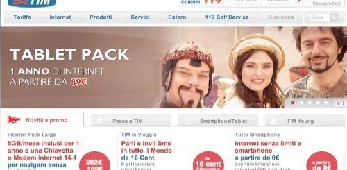 TIM Tablet Pack: 1 anno di Internet a 89 euro