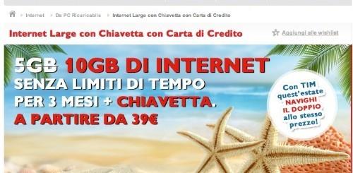 TIM: internet key + 10 GB di internet a partire da 39 euro