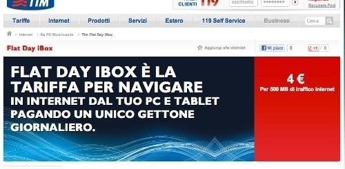 TIM Flat Day iBox: la nuova tariffa giornaliera per navigare dal tablet o dal pc