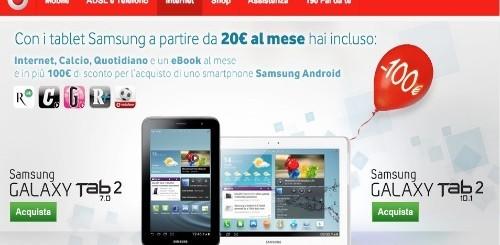 Vodafone: 100 euro di sconto per acquistare uno smartphone per chi sceglierà un tablet Samsung