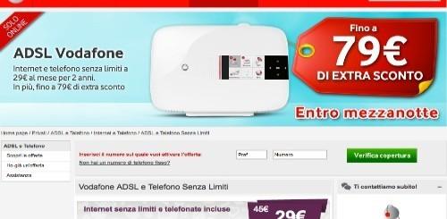Vodafone: 79 euro di extra sconto per chi si abbonerà ad ADSL e Telefono Senza Limiti