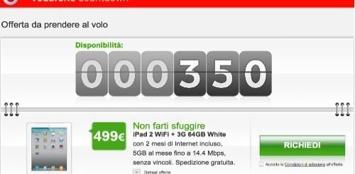 Vodafone Countdown: Apple iPad 2 3G 64GB a 499 euro