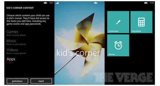 Kid's Corner su Windows Phone 8