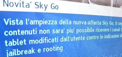 Sky Go vietato ai dispositivi con jailbreak