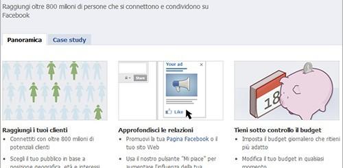Facebook, inserzioni pubblicitarie