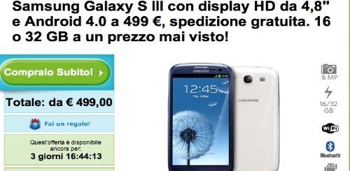 Samsung Galaxy S3 a partire da 499 euro da Groupon
