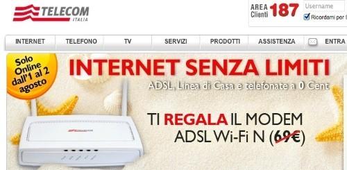 Telecom Italia: modem WiFi in regalo a chi si abbonerà a Internet Senza Limiti