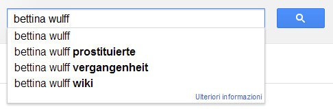 Suggerimenti di Google alla query Bettina Wulff