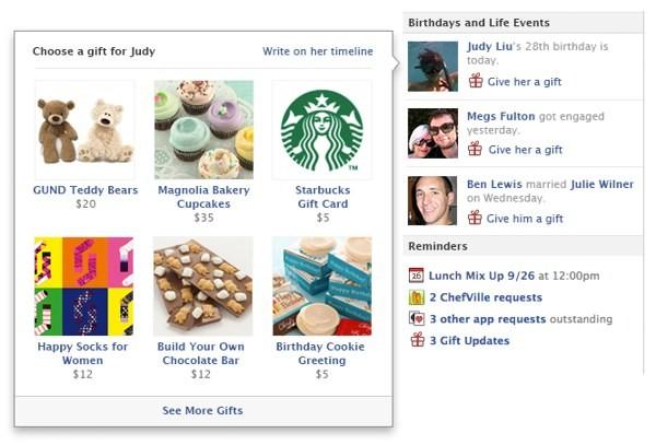 Interfaccia di Facebook Regali