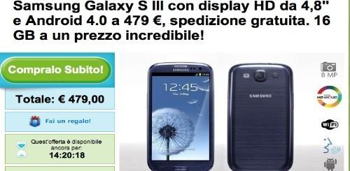 Groupon: Samsung Galaxy S3 a 479 euro