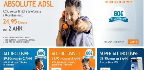Infostrada: 60 euro di sconto extra per chi aderirà ad Absolute ADSL o ai piani All Inclusive