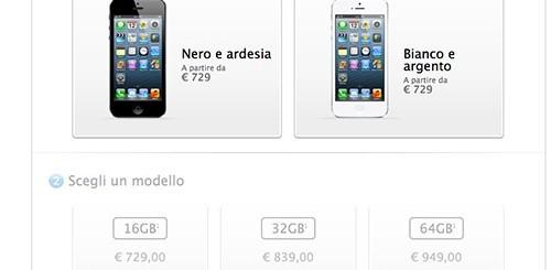 iPhone 5, prezzi ufficiali