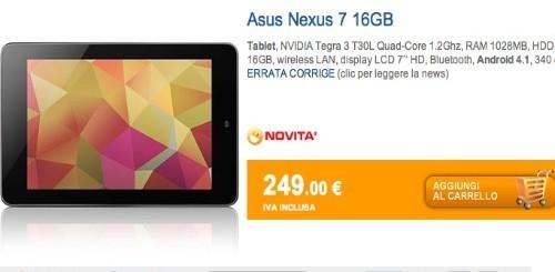 Marcopoloshop.it offre 100 euro di buono per scusarsi dell'errore sul Nexus 7