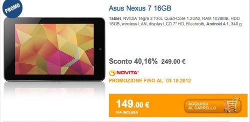 Da Marcopoloshop.it Nexus 7 a 149 euro