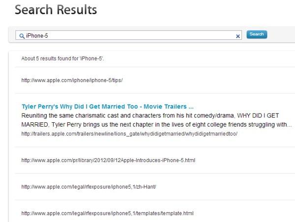 iPhone 5 sul motore di ricerca interno Apple.com