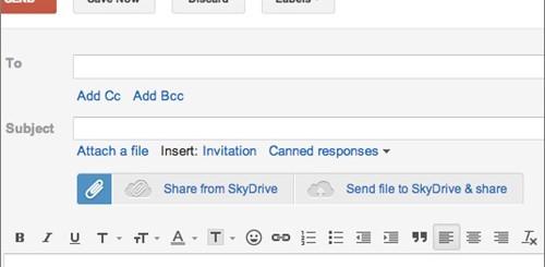 SkyDrive, integrazione con Gmail
