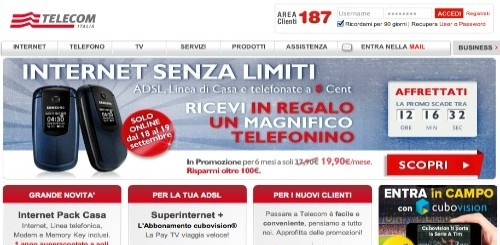 Telecom Italia: un cellulare in regalo a chi si abbonerà a Internet Senza Limiti